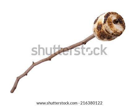 Roasted Marshmallow on a stick, isolated on a white background. Full focus front to back. - stock photo