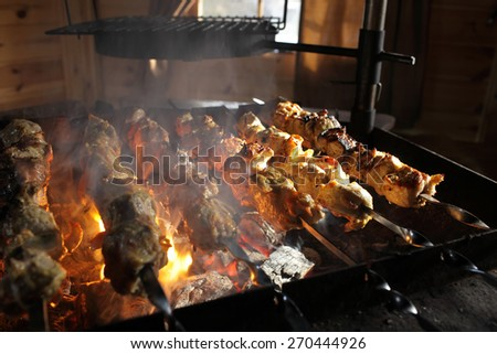 Roasted meat on the barbecue on picnic - stock photo