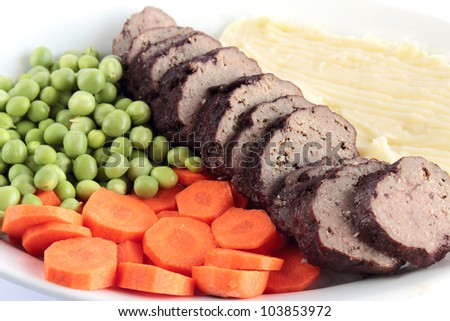 Roasted meat with mashed potatoes and vegetables - stock photo