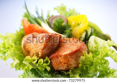 Roasted meat with vegetables - stock photo