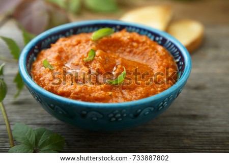 Roasted peppers, tomatoes and basil dip