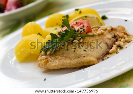 roasted pike perch fillet with boiled potatoes  - stock photo