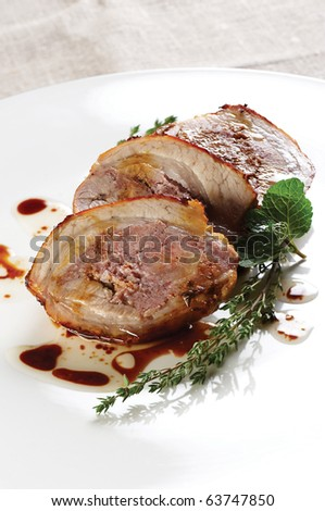 Roasted pork - stock photo