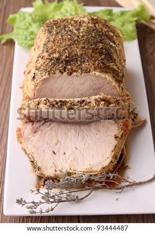 roasted pork and slice - stock photo