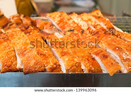 roasted pork for meal time Thailand - stock photo
