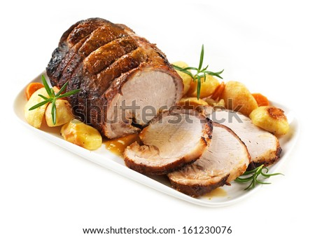 roasted pork on white plate - stock photo