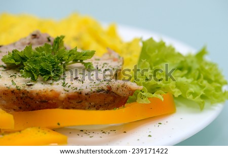 roasted pork with potatoes with yellow pepper with green salad and parsley - stock photo