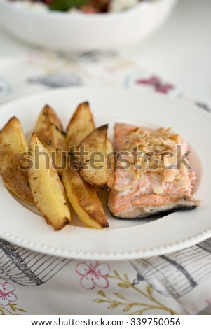 Roasted potatoes and salmon - stock photo