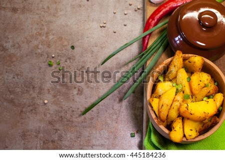 Roasted potatoes with herbs and spices.