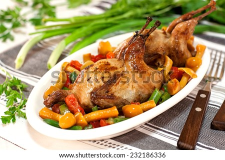 Roasted quails with vegetable and mushrooms garnish - stock photo