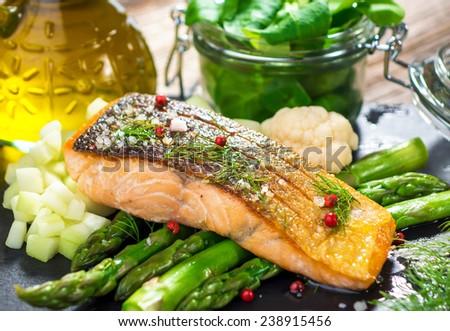 Roasted salmon  - stock photo