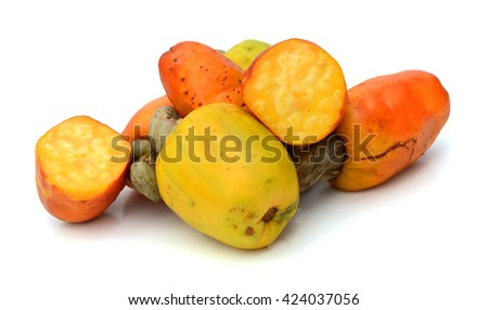 Roasted salted cashews isolated on a white background. - stock photo