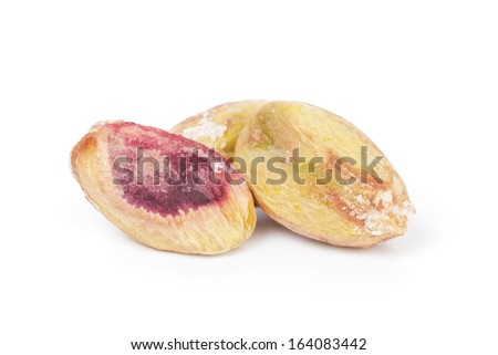 roasted salty pistachios nuts, isolated on white background - stock photo