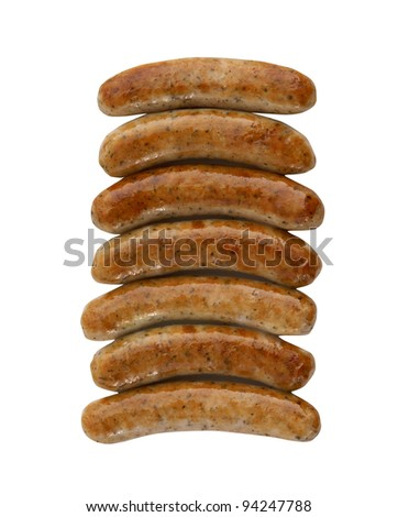 Roasted sausages on white background - stock photo
