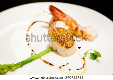 roasted scallop and prawn - stock photo