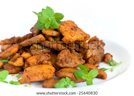 Roasted slices of beef or pork - stock photo