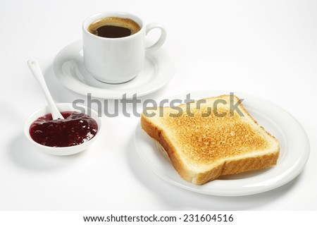 Roasted toast bread with jam and coffee cup on white background - stock photo