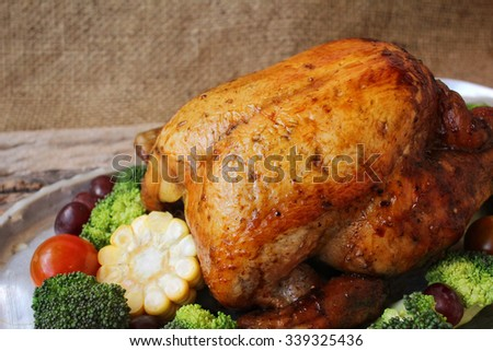 Roasted turkey and vegetables for thanksgiving day - stock photo