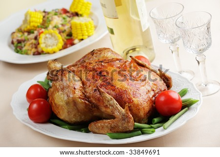 Roasted turkey on the festive table