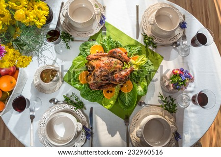 Roasted turkey served on Thanksgiving - stock photo