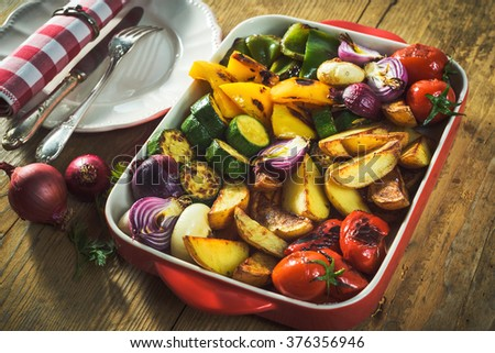 roasted vegetables in a ceramic pot