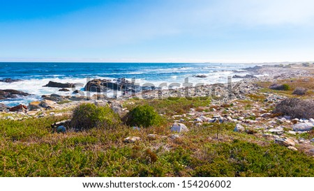 Robben island, an island in Table Bay, west of the coast of Bloubergstrand, Cape Town, South Africa. - stock photo