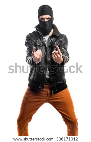 Robber shouting - stock photo