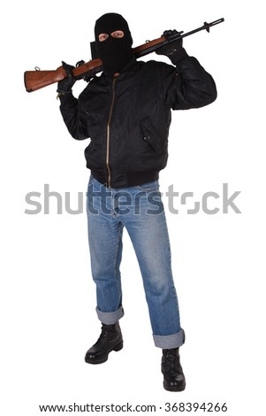 Robber with M14 rifle isolated on white background - stock photo