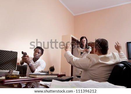 Robbery in the mafia's office. - stock photo
