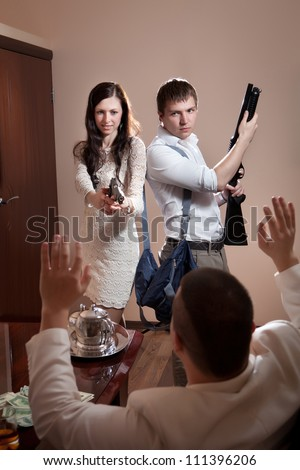 Robbery in the office. - stock photo
