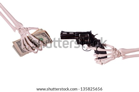 robbery - skeleton hand with gun