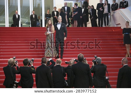Robbie Williams and his wife Ayda Field attend 'The Sea Of Trees' premiere during the 68th annual Cannes Film Festival on May 16, 2015 in Cannes, France. - stock photo