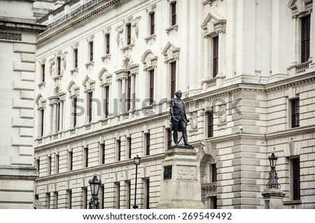 Robert Clive's statue and Churchill War Rooms in London, Great Britain. - stock photo