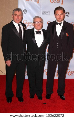 Robert De Niro, Martin Scorsese and Leonardo DiCaprio at the 67th Annual Golden Globe Awards Press Room, Beverly Hilton Hotel, Beverly Hills, CA. 01-17-10 - stock photo
