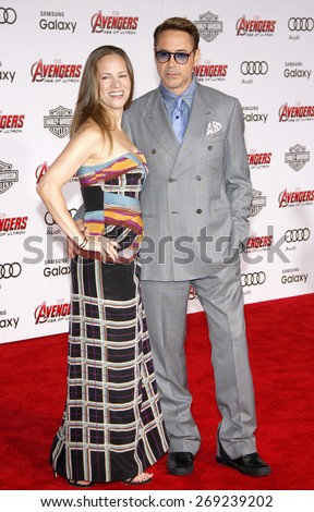 Robert Downey Jr and Susan Downey at the World premiere of Marvel's 'Avengers: Age Of Ultron' held at the Dolby Theatre in Hollywood, USA on April 13, 2015. - stock photo