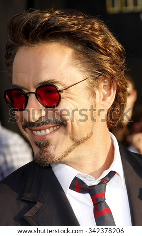 "Robert Downey Jr. at the World Premiere of ""Iron Man 2"" held at the El Capitan Theater in Hollywood, California, United States on April 26, 2010."