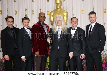 Robert Downey Jr., Jeremy Renner, Samuel L Jackson, Claudio Miranda, Mark Ruffalo and Chris Evans at the 85th Annual Academy Awards Press Room, Dolby Theater, Hollywood, CA 02-24-13 - stock photo
