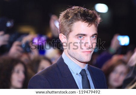 """Robert Pattinson arriving for the """"The Twilight Saga: Breaking Dawn Part 2"""" premiere at the Odeon Leicester Square, London. 14/11/2012 Picture by: Henry Harris - stock photo"""