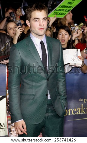 "Robert Pattinson at the Los Angeles Premiere of ""The Twilight Saga: Breaking Dawn - Part 2"" held at the Nokia L.A. Live Theatre in Los Angeles, California, United States on November 12, 2012. - stock photo"