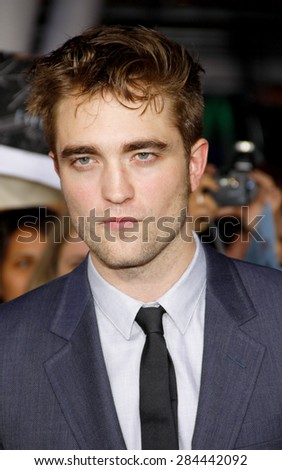 Robert Pattinson at the Los Angeles premiere of 'The Twilight Saga: Breaking Dawn Part 1' held at the Nokia Theatre L.A. Live in Los Angeles on November 14, 2011.  - stock photo