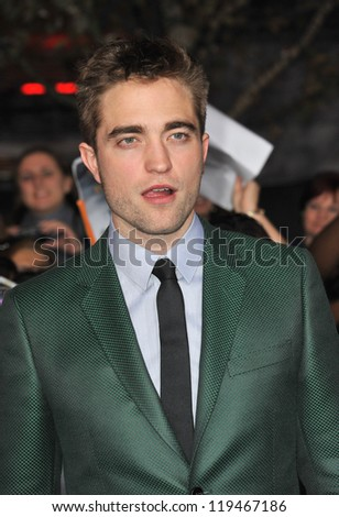"Robert Pattinson at the world premiere of his movie ""The Twilight Saga: Breaking Dawn - Part 2"" at the Nokia Theatre LA Live. November 12, 2012  Los Angeles, CA Picture: Paul Smith - stock photo"