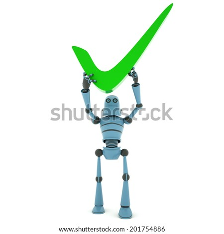 """Robot above head holding a sign """"accepted"""" , front view, 3d render - stock photo"""