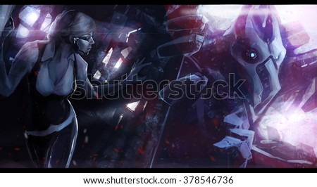 Robot alien monster chasing woman. Futuristic sci-fi scene illustration of a woman escaping huge robotic alien monster. - stock photo