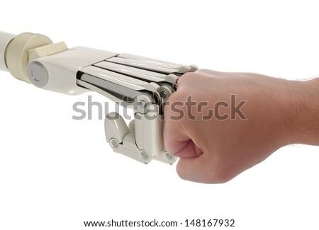 Robot and human fists touching - stock photo