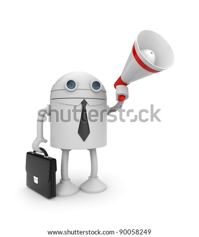 Robot and megaphone - stock photo