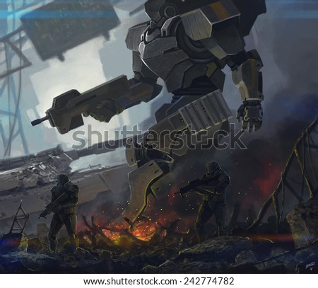 robot and soldiers - stock photo