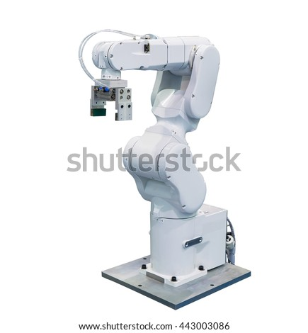 robot arm for industry isolated - stock photo