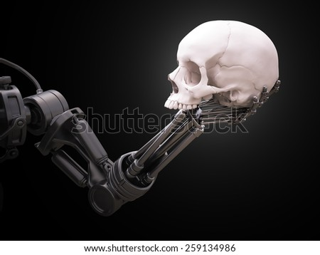 Robot arm holding a human skull - stock photo
