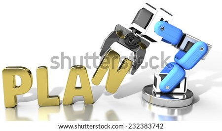 Robot arm holding letter in PLAN word for automation technology  - stock photo