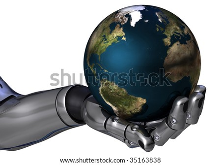 Robot arm holding the earth isolated in white background - stock photo